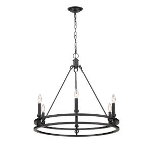Dennison Matte Black Six-Light Chandelier