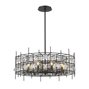 Garroway Matte Black Nine-Light Chandelier