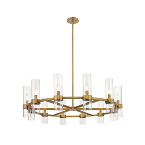 Datus Rubbed Brass 12-Light Chandelier