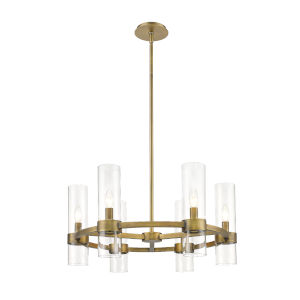 Datus Rubbed Brass Six-Light Chandelier