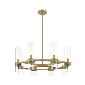 Datus Rubbed Brass Eight-Light Chandelier