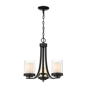 Willow Matte Black Three-Light Chandelier