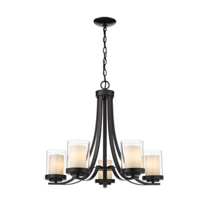 Willow Matte Black Five-Light Chandelier