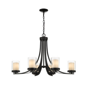 Willow Matte Black Six-Light Chandelier