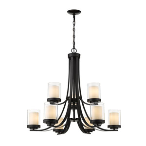 Willow Matte Black Nine-Light Chandelier