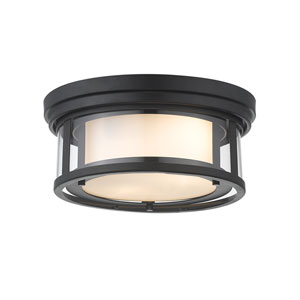 Willow Matte Black Two-Light Flush Mount