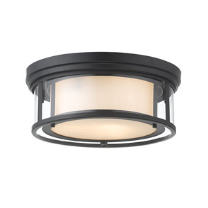 Willow Matte Black Three-Light Flush Mount