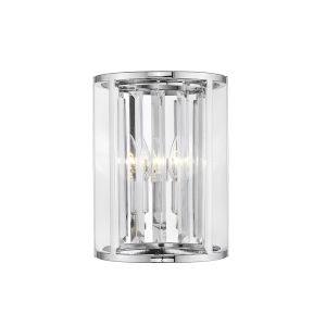 Monarch Chrome Two-Light Wall Sconce With Transparent Crystal