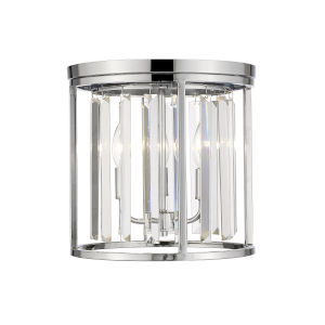 Monarch Chrome 12-Inch Three-Light Flush Mount With Transparent Crystal