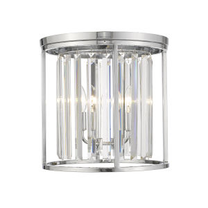 Monarch Chrome Three-Light Flush Mount With Transparent Crystal