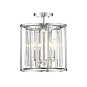 Monarch Chrome 11-Inch Three-Light Semi Flush Mount With Transparent Crystal