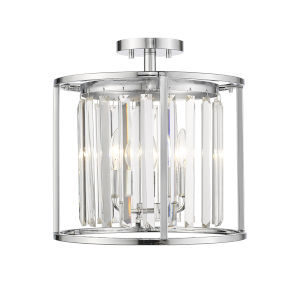 Monarch Chrome Three-Light Semi Flush Mount With Transparent Crystal