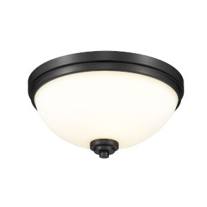 Ashton Matte Black Three-Light Flush Mount with Matte Opal Glass
