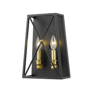 Trestle Matte Black and Olde Brass Two-Light Wall Sconce