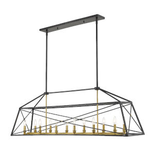 Trestle Matte Black and Olde Brass 12-Light Chandelier