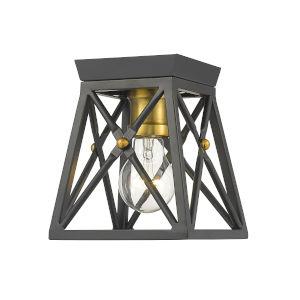 Trestle Matte Black and Olde Brass One-Light Flush Mount