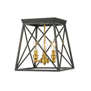 Trestle Matte Black and Olde Brass Three-Light Flush Mount