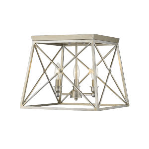 Trestle Antique Silver Three-Light Flush Mount