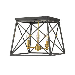 Trestle Matte Black and Olde Brass Three-Light Flush Mount