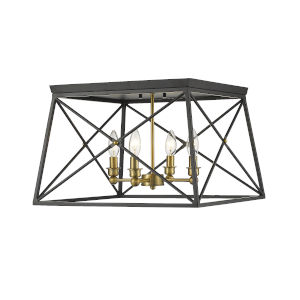 Trestle Matte Black and Olde Brass Four-Light Flush Mount