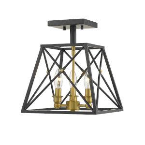 Trestle Matte Black and Olde Brass Three-Light Semi Flush Mount