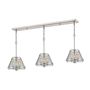 Iuka Brushed Nickel Nine-Light Linear Pendant