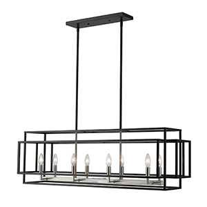 Titania Black and Brushed Nickel Eight-Light Linear Pendant