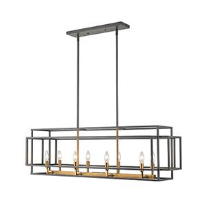 Titania Olde Brass Eight-Light Linear Pendant