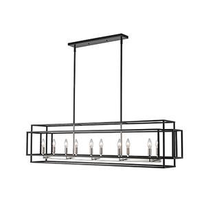 Titania Black and Brushed Nickel 10-Light Linear Pendant