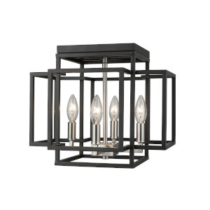 Titania Black and Brushed Nickel Four-Light Flush Mount