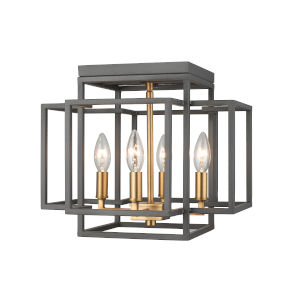 Titania Bronze and Olde Brass Four-Light Flush Mount