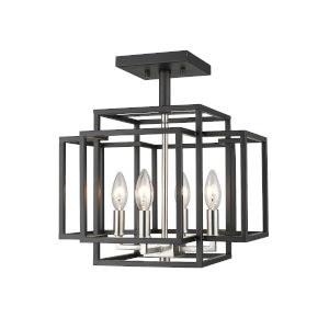 Titania Black and Brushed Nickel Four-Light Semi Flush Mount