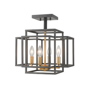 Titania Bronze and Olde Brass Four-Light Semi Flush Mount