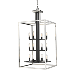 Quadra Brushed Nickel and Black 12-Light Chandelier