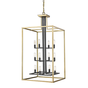 Quadra Olde Brass and Bronze 12-Light Chandelier