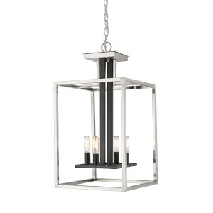 Quadra Brushed Nickel and Black Four-Light Chandelier