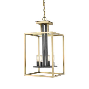 Quadra Olde Brass and Bronze Four-Light Chandelier