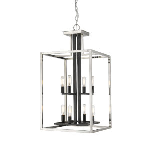 Quadra Brushed Nickel and Black Eight-Light Chandelier