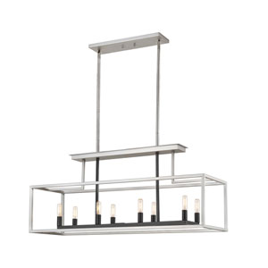 Quadra Brushed Nickel and Black Eight-Light Pendant