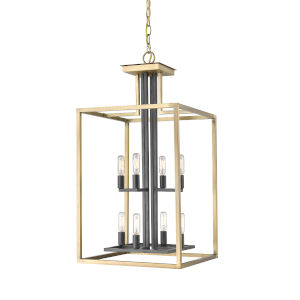 Quadra Olde Brass and Bronze Eight-Light Chandelier