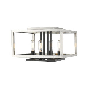 Quadra Brushed Nickel and Black Four-Light Flush Mount