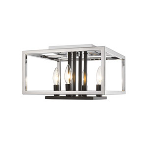Quadra Chrome and Black Four-Light Flush Mount