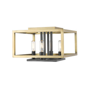 Quadra Olde Brass and Bronze Four-Light Flush Mount