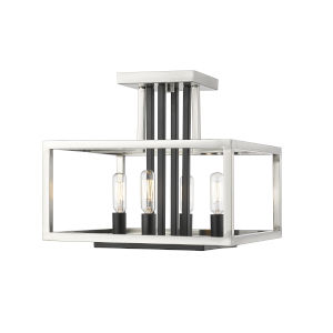 Quadra Brushed Nickel and Black Four-Light Semi Flush Mount