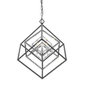 Euclid Chrome and Matte Black Three-Light Chandelier