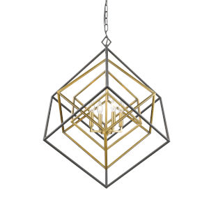 Euclid Olde Brass and Bronze Four-Light Chandelier
