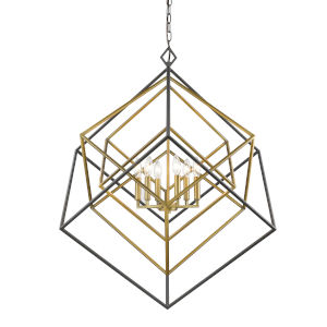 Euclid Olde Brass and Bronze Six-Light Chandelier