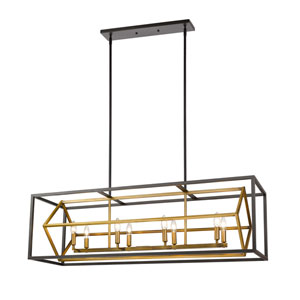 Euclid Olde Brass and Bronze Eight-Light Pendant