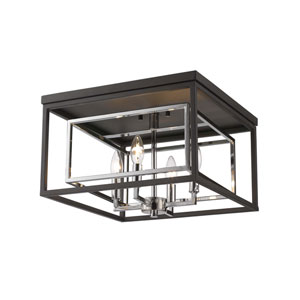 Euclid Chrome and Matte Black Four-Light Flush Mount