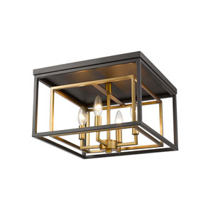 Euclid Olde Brass and Bronze Four-Light Flush Mount